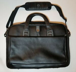 HP Black Leather Laptop Bag Carrying Case - 17 Pockets - Good Condition!!!