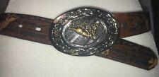 NOCONA Brown Western Cowgirl Genuine Leather Belt Silver Bucking Bronco
