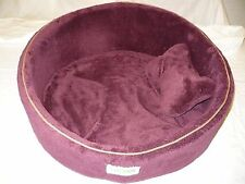 Formay Dog Cat Pet Beds Large Burgundy Round W Bone Pillow 21 Inches NEW