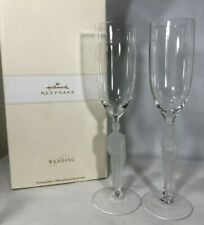 New Hallmark Keepsake Wedding Toasting Flutes Sculpted Glass Bride Groom Stems