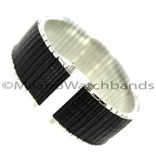 18-22mm Speidel Twist-O-Flex Silver Tone Black Coating Romunda Watch Band 1327