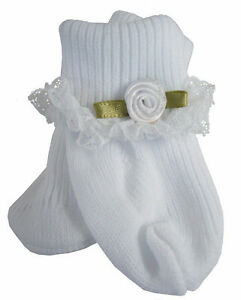 Lace Trim Socks w/ White Rosebuds for Bitty Baby + Twins Doll Clothes