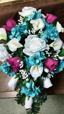 LARGE WEDDING SILK  BOUQUET WHITE CALA LILY TEAL & MAGENTA  CASCADE & BOUT