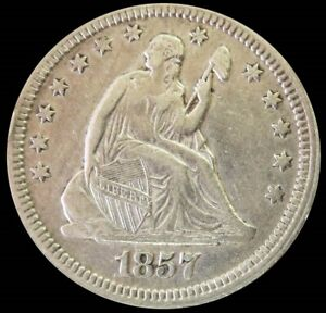 1857 SILVER UNITED STATES SEATED LIBERTY QUARTER COIN XF CONDITION