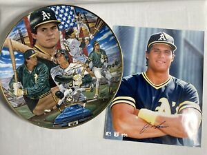 1989 Jose Canseco Sports Impressions Gold Edition Plate #1664 & Autograph Photo