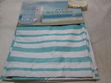 "New Beachcomber SEASHELL & STRIPE Fabric Shower Curtain 72""x72"" ~ Teal & White"
