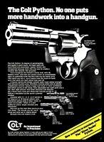 "1983 COLT PYTHON  4"" barrel Revolver PRINT AD now available Silver Snake"