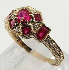 DIVINE 9CT 9K GOLD ART DECO INS INDIAN RUBY & DIAMOND RING FREE SIZE