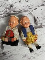"Miniature Celluloid Boy and Girl Doll Germany Austrian 3"""