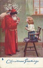 CHRISTMAS – Santa and Young Girl Tuck Postcard - 1907