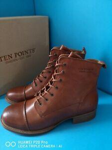 Ten Points PANDORA 60004 Lace Up Cognac Brown Leather Ankle Boots size uk 7.5