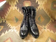 CAPEZIO Black TEXTURED LEATHER Western Granny Lace Up Boots 7.5 M MADE IN USA