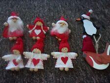 X8 WOODEN HANGING CHRISTMAS  DECORATIONS. SANTA, PEOPLE, PENGUIN & ROBIN