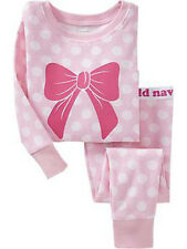 NEW Girl Old Navy 6-12 Bow Pink Sleep Set Pajamas Toddler christmas pj 2 piece