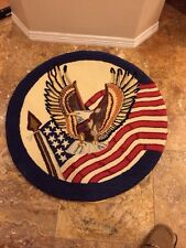 "Antique Patriotic Wool Handmade Round Rug 36""w Excellent Cond For Age"