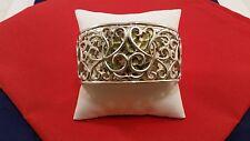 Sterling Silver .925 Wide Cuff Bracelet Swirl Heart Pattern Raised Hammered