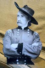 """Gen. George Custer, Civil War, Western B&W Tabletop Display Standee 10.5"""" Tall"""