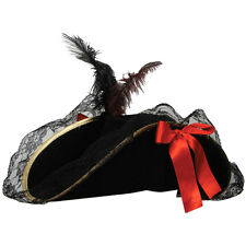 Ladies DELUXE PIRATE HAT with Feather Red Ribbon Fancy Dress Buccaneer Hat