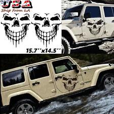 2pcs Black Skull Vinyl Side Door Tailgate Decal Sticker For Jeep Wrangler JK