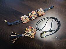 of Bracelet and Necklace w/Tassel Genuine Leather Handmade Designer Jewelry Set
