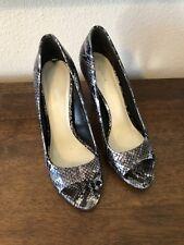 Via Spiga Italian Leather Snake Skin Open Toe Heel Pump Shoes Size 7.5
