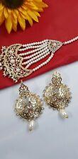 UK SELLER Indian Hyderabadi Gold tone White Pearls Earrings Jhumer Jhomer  Set