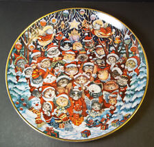 "Porcelain collector plate Santa Claws Bill Bell Franklin Mint Ltd Ed gold rim 8"""