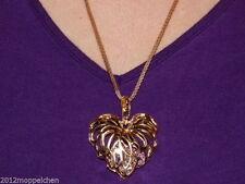 Gelbgold beschichtete Modeschmuck-Halsketten & -Anhänger aus Strass mit Herz