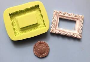 mini vintage style frame silicone mould - cake decoration, sugarpaste, fimo