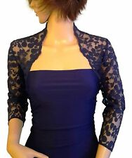 womens Navy , Black or Purple Lace Bridal 3/4 sleeve Bolero/Jacket 8 to 18