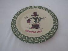 Henn Pottery Green Spongeware Shivers Snowman Christmas Plate