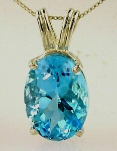 Genuine Swiss Blue Topaz Pendant Large 18x13 MM Oval 925 Sterling Silver