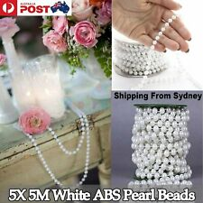25M White Pearl Beads String 6mm Garland DIY Wedding Party Trim ABS Decorati