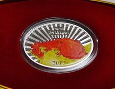2012 Niue $2 New Zealand Mint Year of the Dragon RED Money DRAGON, Silver Coin