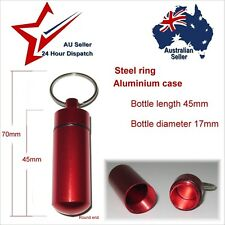 Small Aluminium Waterproof Container Red.  pill box survival kit matches tablets