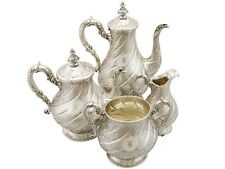 Antique Victorian Sterling Silver Four Piece Tea and Coffee Service London 1863