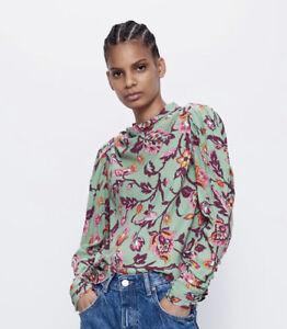 BNWT Zara Green Floral Blouse Sz S