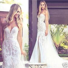 Applique Split Mermaid Beach Lace Wedding Dress Bridal Gown Size 6 8 10 12 14 16