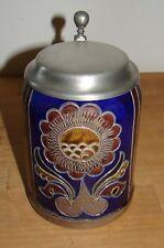 Bierkrug Bierseidel mit Zinndeckel geritzt echte Salzglasur Keramik Handarbeit