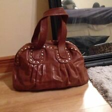 Big Brown / Tan Studded Handbag / Shoulder Bag Quality Faux Leather Pia