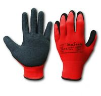 12 Pairs LATEX COATED BUILDERS GLOVES ROUGHENED GRIP WORK SAFETY GLOVES