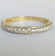 14k Yellow Gold semi round Eternity Engagement Wedding Band Ring Size 5 6 7 8 9