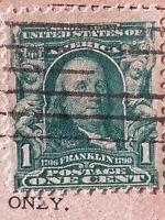 Franklin Blue Green scott#300 Sep 6, 1908 Elkhart Indiana Cancel