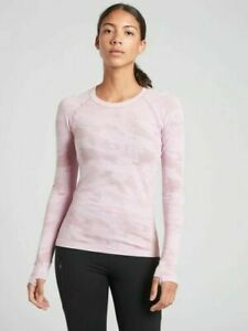 ATHLETA Momentum Top Camo Pink L Large  Long Sleeve Workout Running