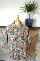 Reyn Spooner Joe Kealoha Hawaiian Aloha Shirt, Tiki Mask, Flowers, Beach, Size L