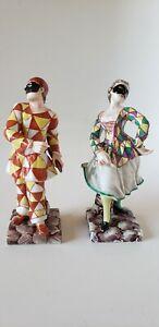 Pair Porcelain Figurines ItalyRichard Ginori Harlequin Jesters Doccia c.1800s
