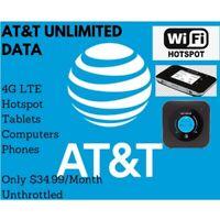 AT&T Unlimited 4G LTE Data Plan $34.99 Hotspot No Enterprise Plan Unthrottled