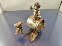 """CHERUB WATCHING BUTTERFLY  FIGURAL SILVERPLATE NAPKIN RING #021 BY unbranded """"CW"""