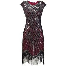 New 1920s vtg gatsby flapper charleston sequin evening black red dress UK 8-18