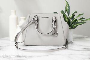 Michael Kors Charlotte Large Pebble Leather Gray Satchel Crossbody Handbag Purse